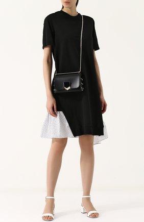 Хлопковое мини-платье с контрастной оборкой Clu черное   Фото №1