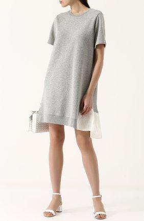 Хлопковое мини-платье с контрастной оборкой Clu серое | Фото №1