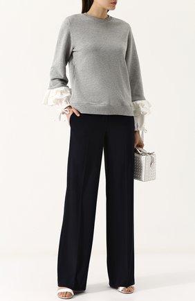 Хлопковый свитшот с контрастными оборками Clu серый | Фото №1