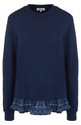 Хлопковый свитшот с контрастной оборкой Clu синий | Фото №1