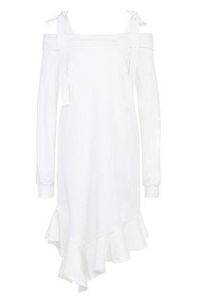 Однотонное хлопковое платье-миди с бантами Clu белое | Фото №1