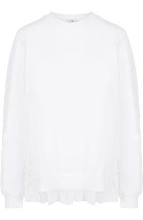 Хлопковый свитшот с кружевной спинкой Clu белый | Фото №1