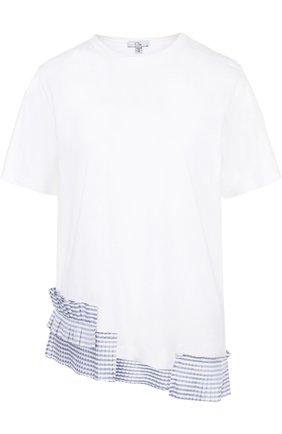 Хлопковая футболка с контрастными оборками Clu белая | Фото №1
