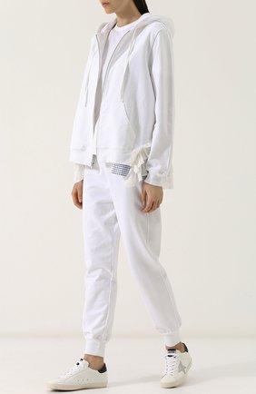 Хлопковый кардиган на молнии с капюшоном Clu белый | Фото №1