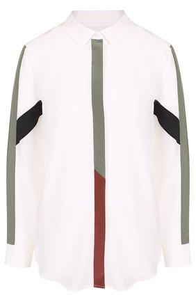 Женская шелковая блуза свободного кроя с контрастной отделкой Equipment, цвет белый, арт. 18-1-Q23-TP0154 в ЦУМ | Фото №1