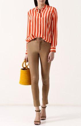Женская шелковая блуза прямого кроя Equipment, цвет оливковый, арт. Q23-E900 в ЦУМ | Фото №1