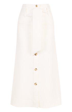 Однотонная юбка-миди из льна | Фото №1