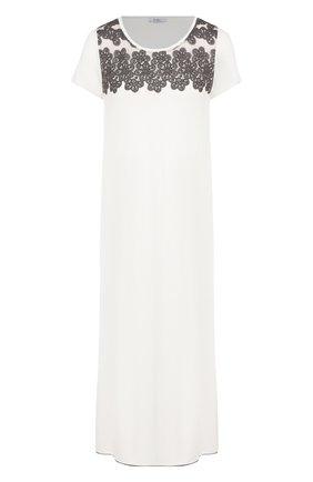 Сорочка из вискозы с кружевной отделкой Imec кремовая | Фото №1