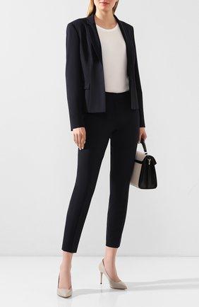 Женские шерстяные брюки BOSS темно-синего цвета, арт. 50291861 | Фото 2