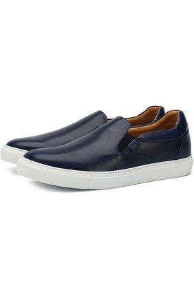 Мужские кожаные слипоны BRIONI синего цвета, арт. QHG50L/06718 | Фото 1