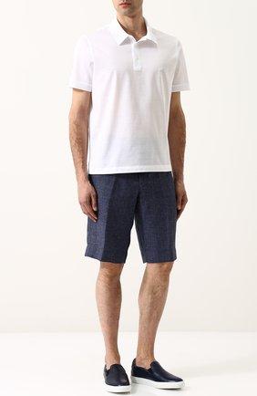 Мужские кожаные слипоны BRIONI синего цвета, арт. QHG50L/06718 | Фото 2