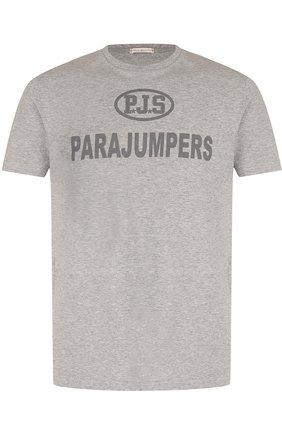 Хлопковая футболка с принтом Parajumpers серая   Фото №1