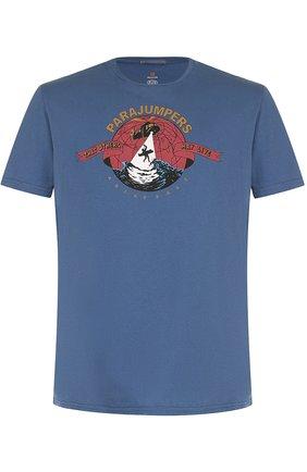 Хлопковая футболка с принтом Parajumpers синяя   Фото №1