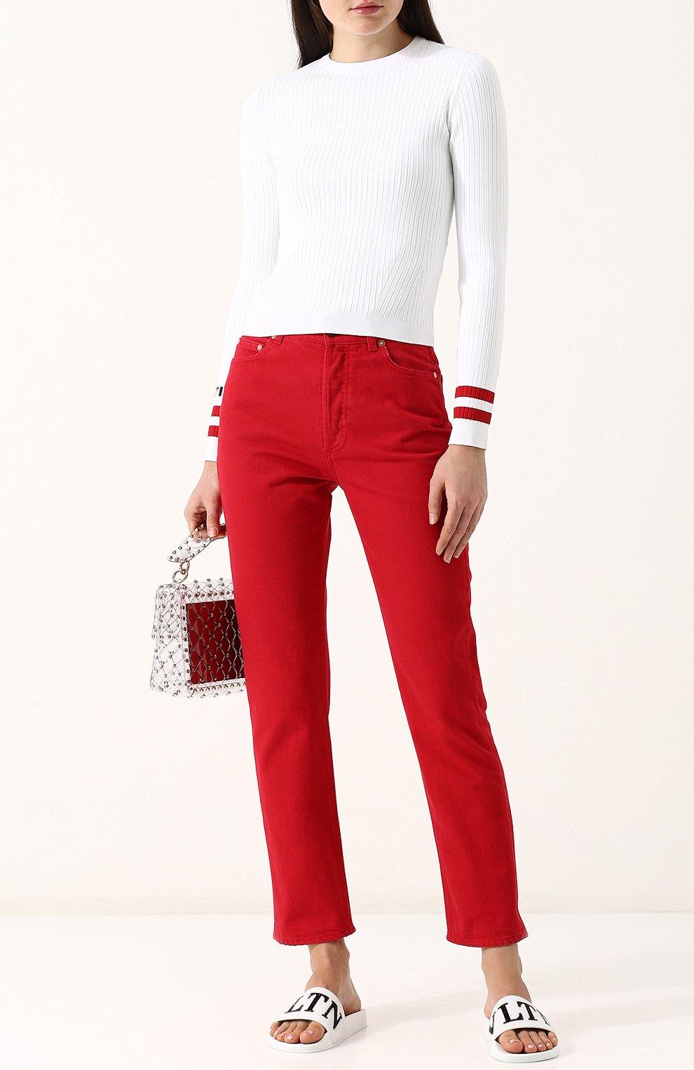 Женские джинсы VALENTINO красного цвета, арт. PB3DD07Q/4SK | Фото 2