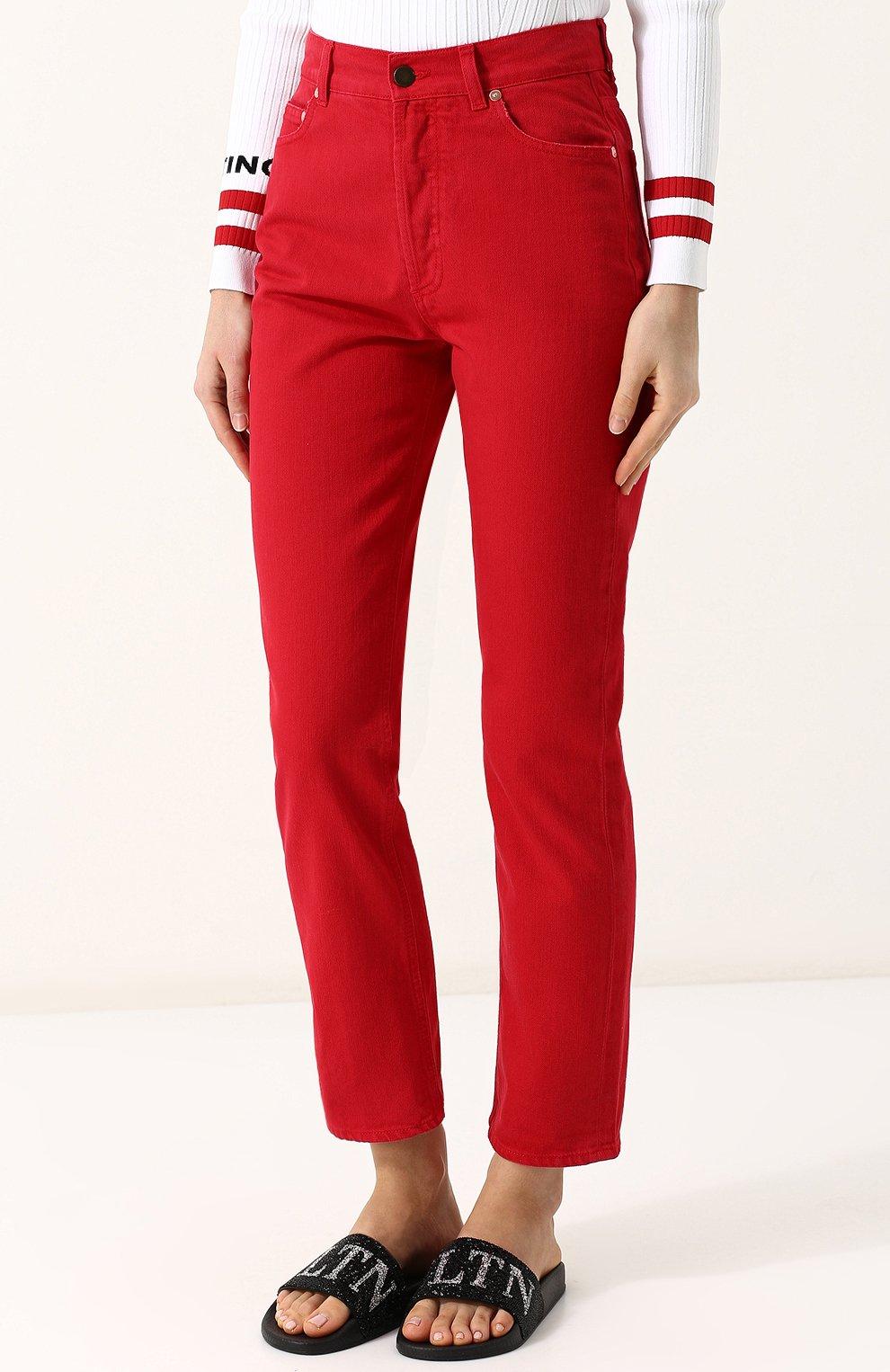 Женские джинсы VALENTINO красного цвета, арт. PB3DD07Q/4SK | Фото 3