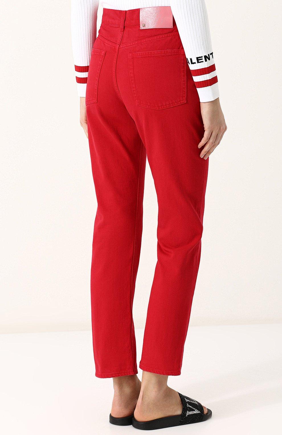Женские джинсы VALENTINO красного цвета, арт. PB3DD07Q/4SK | Фото 4