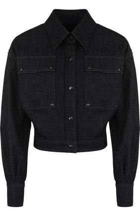 Укороченная джинсовая куртка с отложным воротником | Фото №1