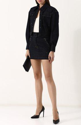 Укороченная джинсовая куртка с отложным воротником | Фото №2