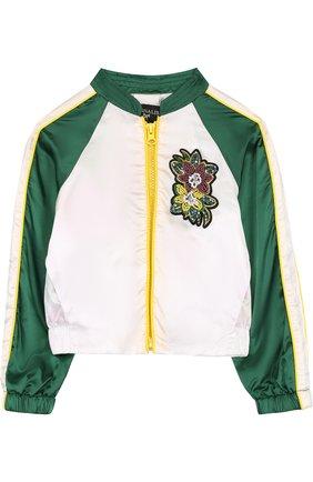 Текстильная куртка с аппликацией и вышивкой бисером | Фото №1