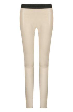 Кожаные брюки-скинни с эластичным поясом DROMe черные | Фото №1