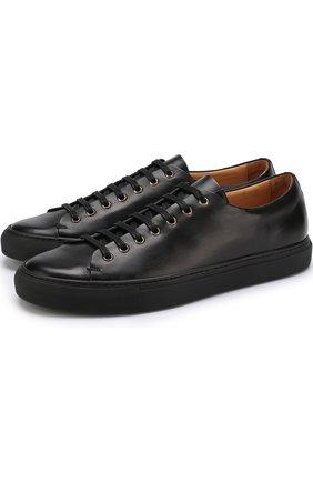 Кожаные кеды на шнуровке Buttero черные | Фото №1