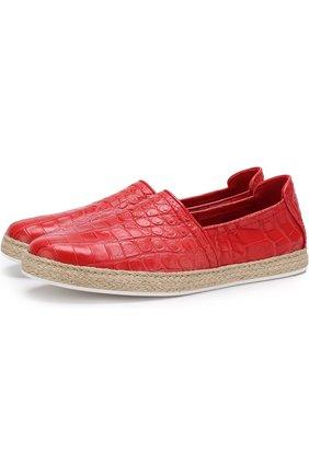 Эспадрильи из кожи крокодила Dami красные | Фото №1