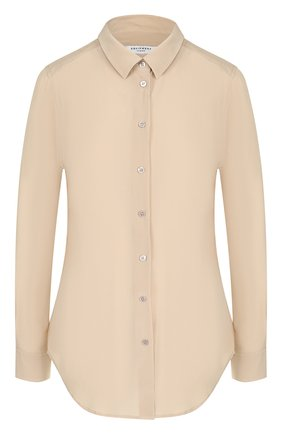 Женская шелковая блуза прямого кроя в полоску Equipment, цвет зеленый, арт. Q2820-E900 в ЦУМ | Фото №1
