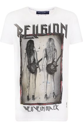 Хлопковая футболка с принтом Religion белая | Фото №1