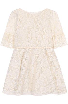 Кружевное мини-платье с расклешенными рукавами и стразами на поясе | Фото №1