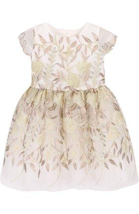 Мини-платье с декоративной вышивкой и бантом   Фото №1