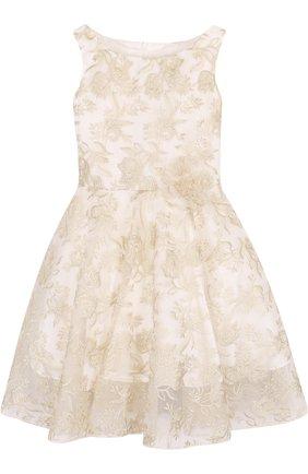 Детское шелковое платье с декоративной вышивкой David Charles белого цвета | Фото №1