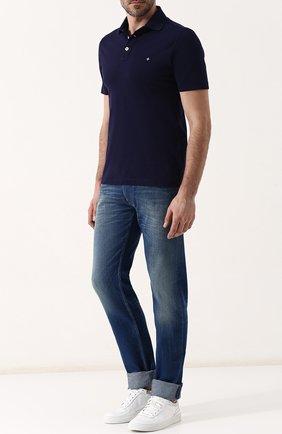 Мужские джинсы прямого кроя с потертостями STONE ISLAND синего цвета, арт. 6815J1BN4 | Фото 2
