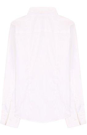 Детская хлопковая рубашка прямого кроя Dal Lago белого цвета | Фото №1
