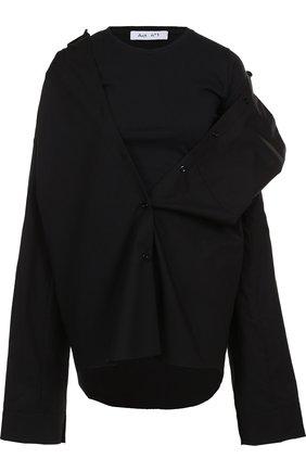 Однотонная хлопковая блуза асимметричного кроя | Фото №1