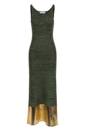 Вязаное платье-миди с контрастной отделкой подола | Фото №1