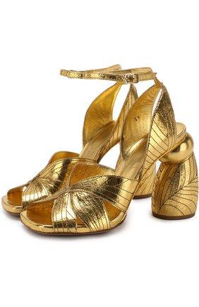 Босоножки из металлизированной кожи на фигурном каблуке | Фото №1