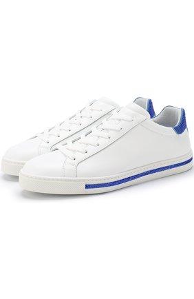 Кожаные кеды с контрастной отделкой на шнуровке Rene Caovilla белые | Фото №1