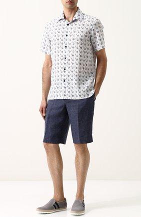 Хлопковая рубашка с короткими рукавами Van Laack белая | Фото №1