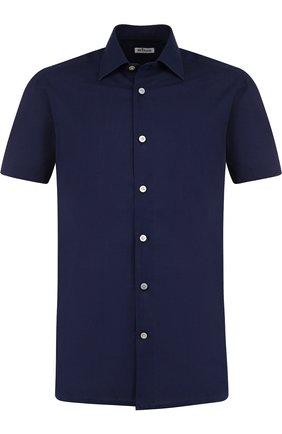 Мужская хлопковая рубашка с короткими рукавами KITON темно-синего цвета, арт. UMCNERH0622101 | Фото 1