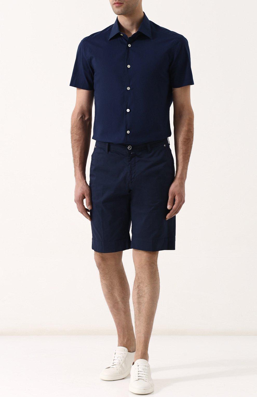Мужская хлопковая рубашка с короткими рукавами KITON темно-синего цвета, арт. UMCNERH0622101 | Фото 2