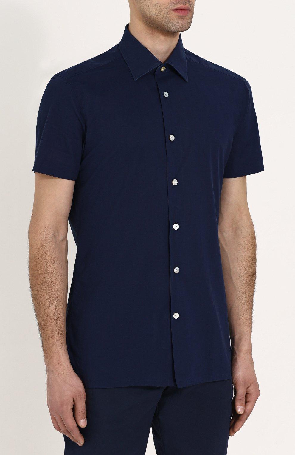 Мужская хлопковая рубашка с короткими рукавами KITON темно-синего цвета, арт. UMCNERH0622101 | Фото 3