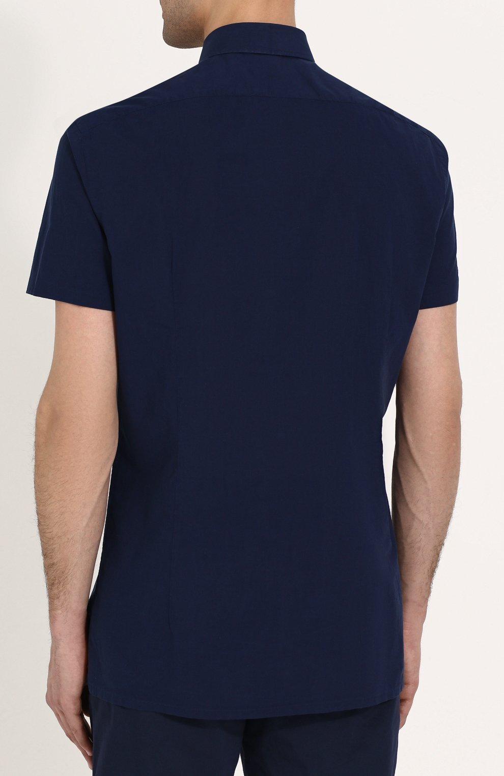Мужская хлопковая рубашка с короткими рукавами KITON темно-синего цвета, арт. UMCNERH0622101 | Фото 4