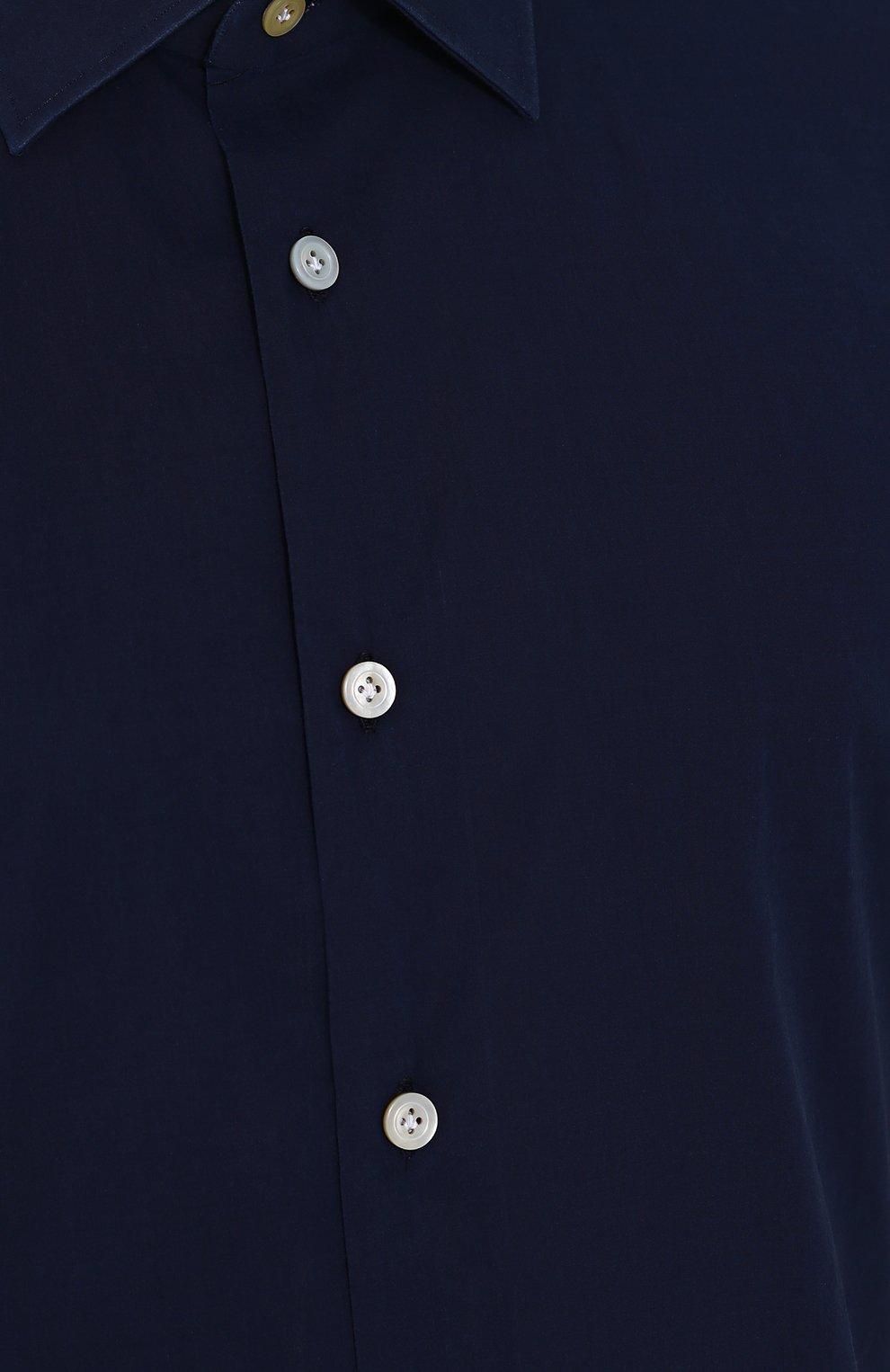 Мужская хлопковая рубашка с короткими рукавами KITON темно-синего цвета, арт. UMCNERH0622101 | Фото 5