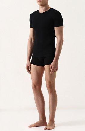 Мужские хлопковая футболка с круглым вырезом PEROFIL черного цвета, арт. 24147-0003   Фото 2