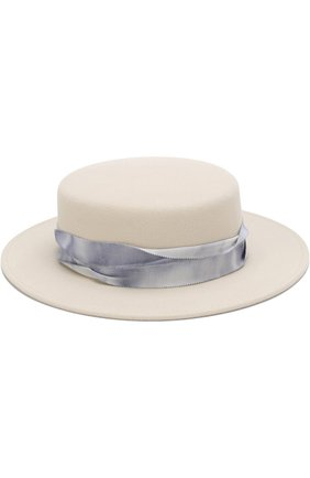 Фетровая шляпа Kiki с лентой Maison Michel белого цвета | Фото №1