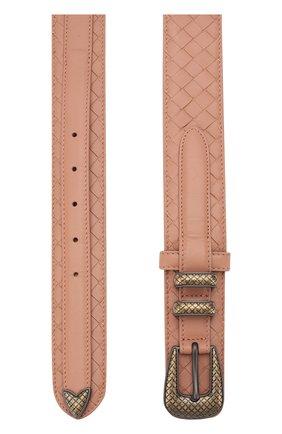 Женский кожаный ремень с плетением intrecciato и металлической пряжкой BOTTEGA VENETA розового цвета, арт. 505580/V00AD | Фото 2 (Статус проверки: Проверено)