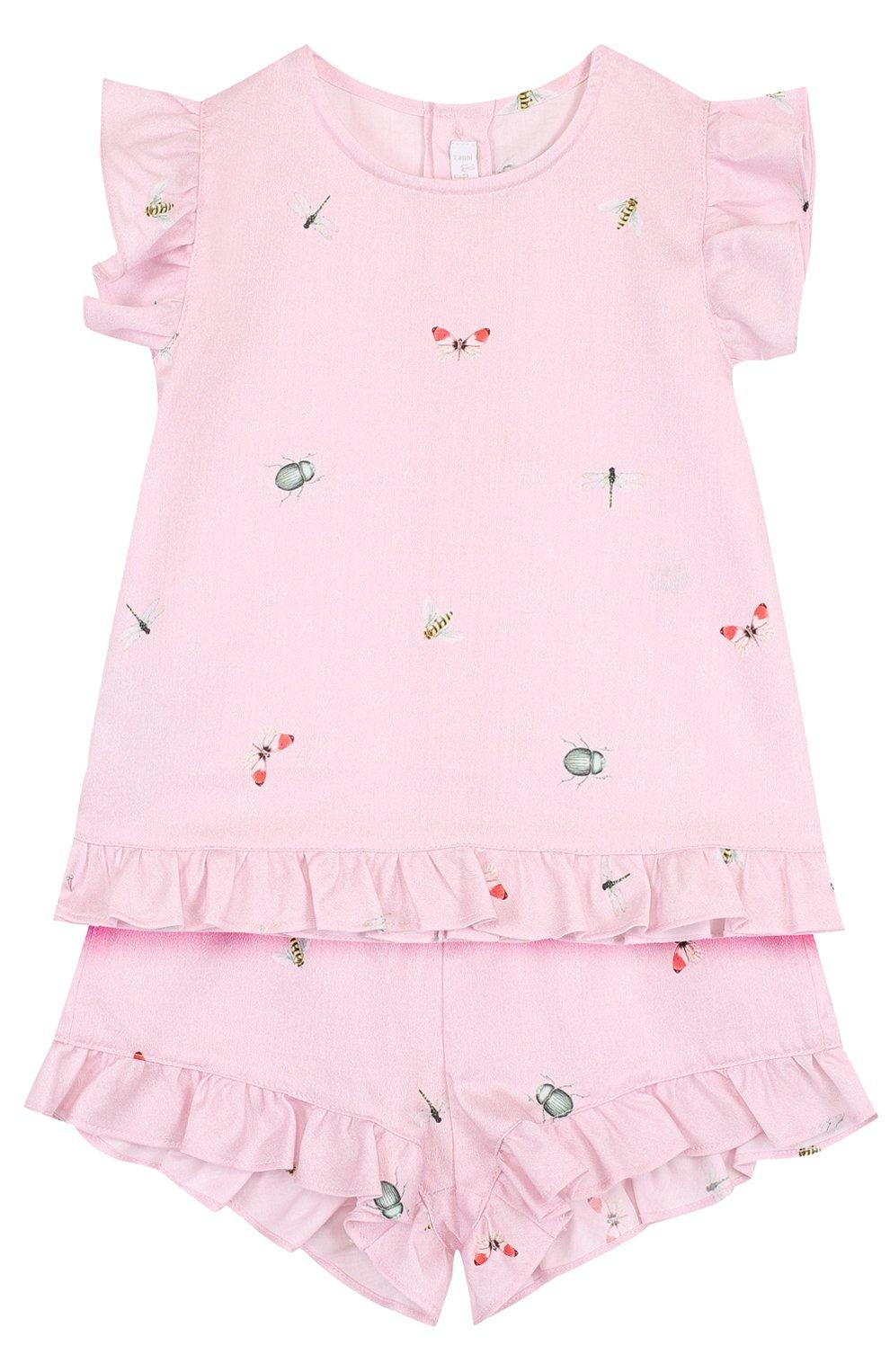 Детский хлопковый комплект из платья и шорт IL GUFO розового цвета, арт. P18DP248C4039/2A | Фото 1