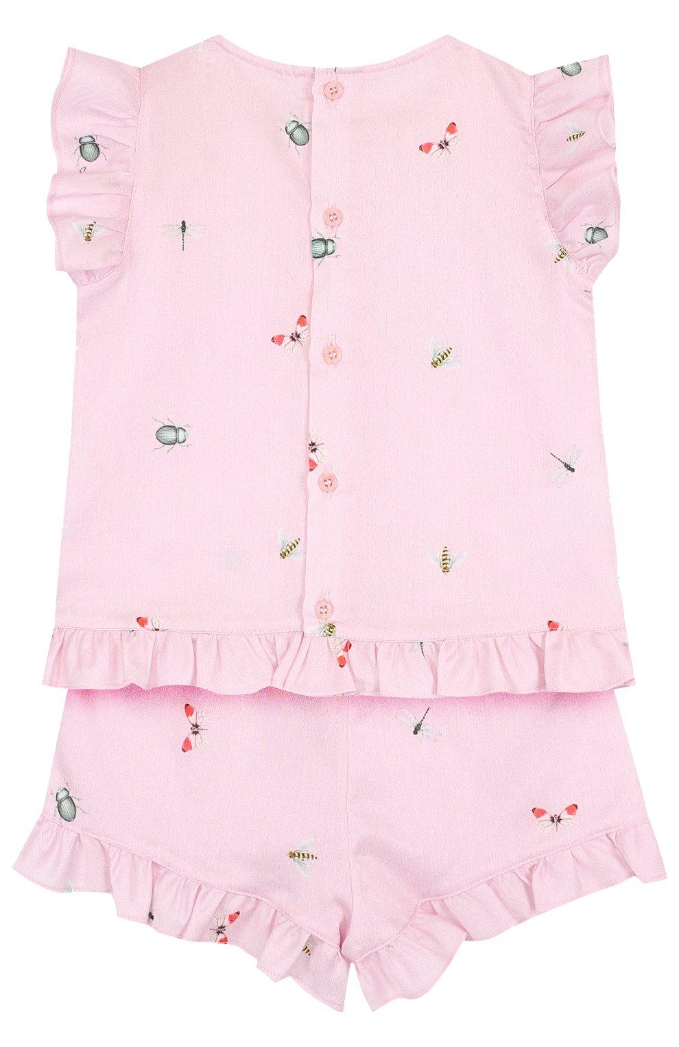 Детский хлопковый комплект из платья и шорт IL GUFO розового цвета, арт. P18DP248C4039/2A | Фото 2