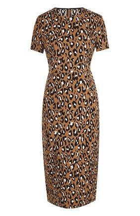 Приталенное платье-миди с завышенной талией и принтом   Фото №1