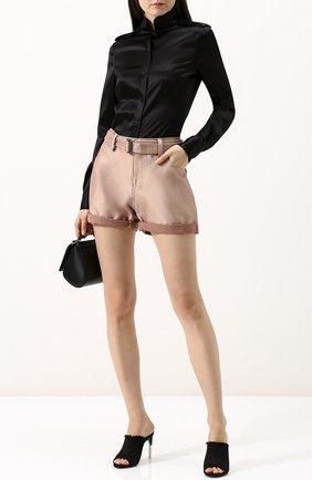 Женские однотонные шелковые мини-шорты с поясом TOM FORD бежевого цвета, арт. SH0002-FAX382 | Фото 2